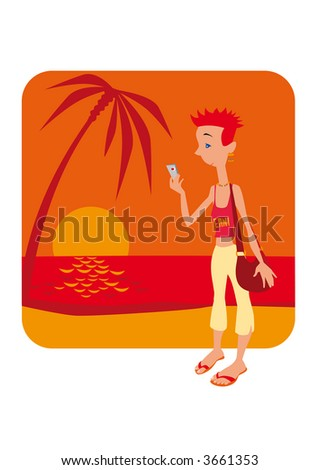 Young Girl with mobile phone at sunset. Vector EPS-File.