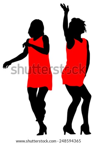 Young girls in dress on white background - stock vector