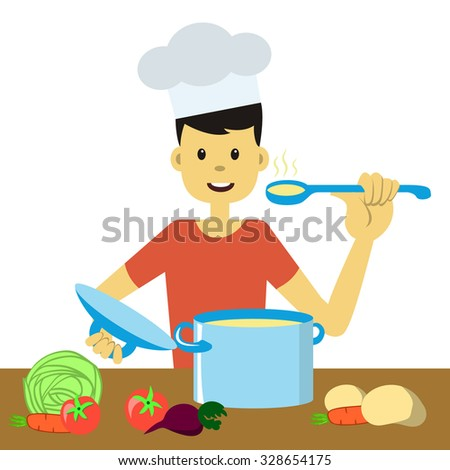 Young good-looking man in chef hat cooking vegetables and tasting hot food. Vector illustration. Flat design, cartoon style. Man in the kitchen. Concept for stay-at-home dad doing domestic chores. - stock vector