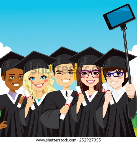 Young group of students taking selfie photo with smartphone and selfie stick on graduation day - stock vector
