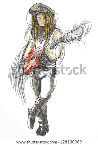 Young guitar player in expressive outlines and colored background. /// Vector description: contours in shades of gray and black, editable in 6 layers. - stock vector