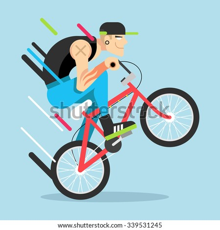 Young guy on bicycle. Vector flat illustration - stock vector
