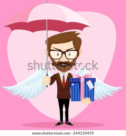 Young Handsome angel Man with with an umbrella Wings and Gift .Young man, hipster, gives a gift for the holiday. Stock Vector  Illustration - stock vector