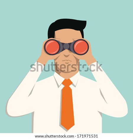 Young handsome businessman with binoculars. Business concept in vision and leadership.  - stock vector