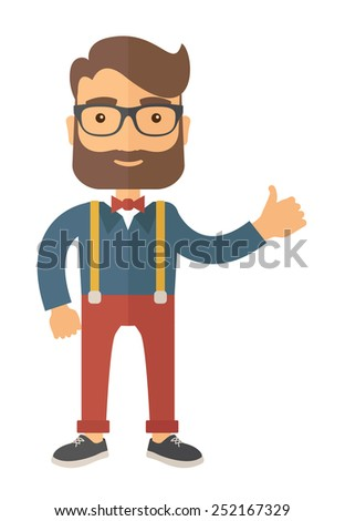 Young handsome hipster. - stock vector