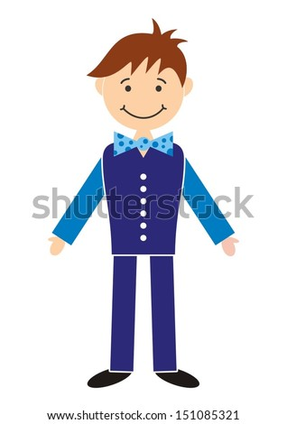 Young handsome man in blue clothes - character cartoon illustration - stock vector