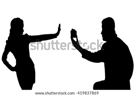 young handsome man making proposal of marriage, but young woman is refusing him - stock vector