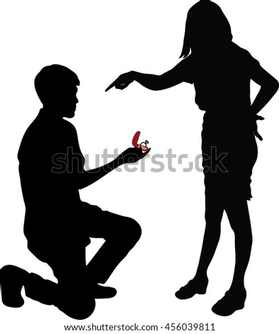 young handsome man making proposal of marriage, but young woman is refusing him, Will You Marry Me? - stock vector