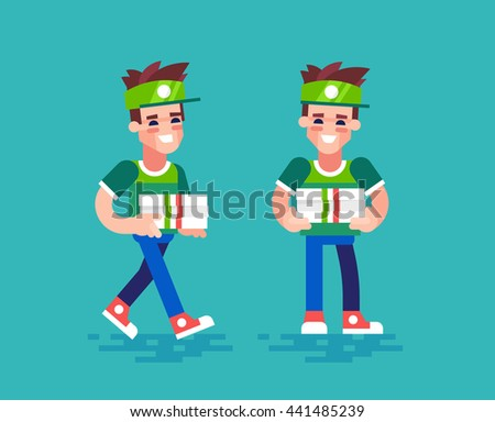 Young handsome pizza delivery guy in uniform holds boxes and friendly smiling. Modern character design - pizza courier in different poses. Vector set in flat design. - stock vector