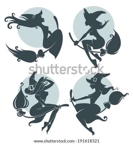 young happy and attractive witches, vector collection - stock vector