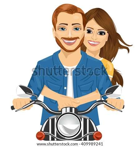 Young happy couple riding a motorcycle isolated on white background - stock vector
