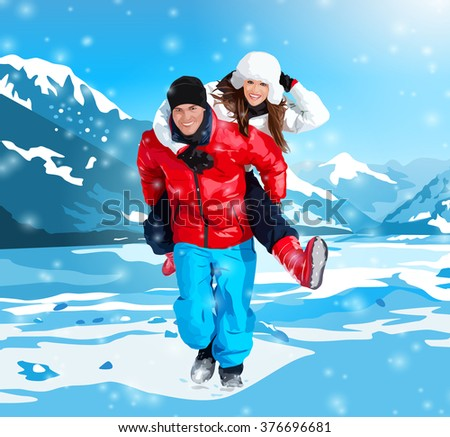 Young happy couple running on winter mountains background - stock vector