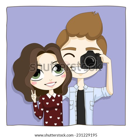 Young happy couple taking a snapshot of themselves with a digital camera. Cartoon vector illustration - stock vector