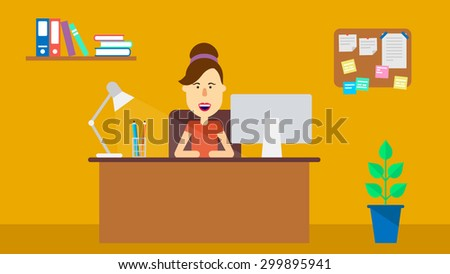 Young happy woman sitting at desk in office. Flat illustration. Vector stock. - stock vector
