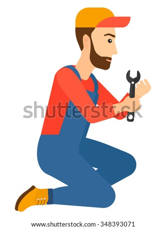 Young hipster repairman sitting with a spanner in hand vector flat design illustration isolated on white background. Vertical layout. - stock vector
