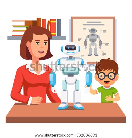 Young honors course student learning robotics with teacher and humanoid bipedal robot in classroom.  Flat style vector illustration isolated on white background. - stock vector