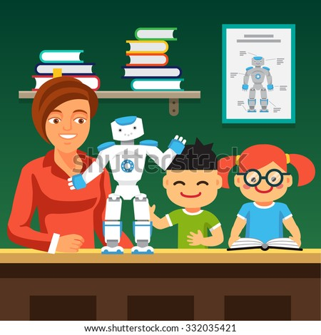 Young honors course students learning robotics with teacher and humanoid bipedal robot.  Flat style vector illustration isolated on green background. - stock vector