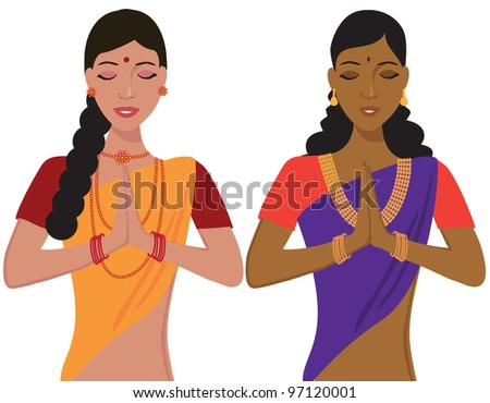 young indian girl greeting namaste in traditional clothing