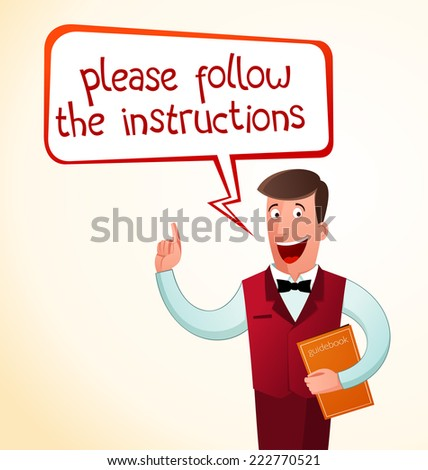 young instructor give an instructions - stock vector