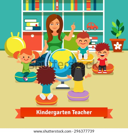 Young kindergarten teacher teaching class of kids geography with earth globe. Kids are sitting on pillows around her. Flat style vector cartoon illustration. - stock vector