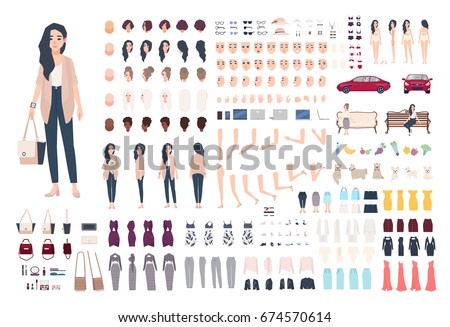 Young lady character constructor. Trendy girl creation set. Different woman postures, hairstyle, face, legs, hands, clothes, accessories collection. Vector cartoon illustration. Front, side, back view