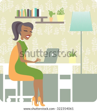Young lady working from home vector character - stock vector