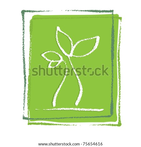 Young little plant seedling, artistic painterly simplified chalk-like illustration, vector - stock vector