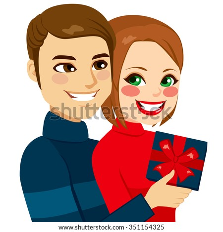 Young lovers couple hugging with man giving a present to his girlfriend on Valentine day - stock vector