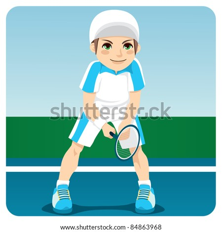 Young male professional tennis player ready to receive serve