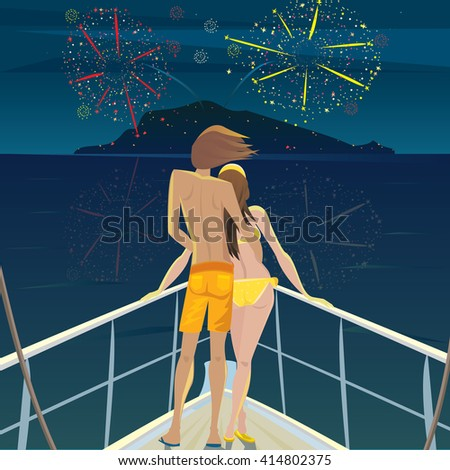 Young man and a beautiful girl standing on the deck at night and admire the fireworks over the island - Celebration or Festival concept. Vector illustration - stock vector