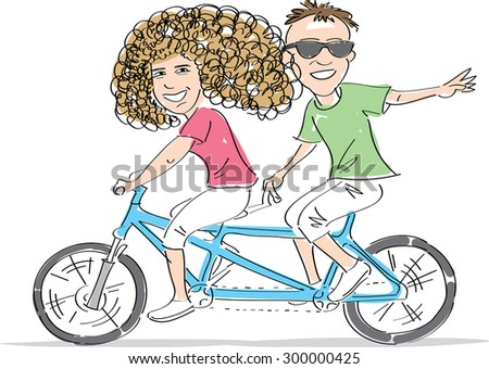Young Man and woman, a couple, riding together tandem bike. Vector illustration - stock vector