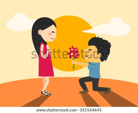 Young man are presenting flowers to a woman in love. - stock vector