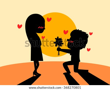 Young man are presenting flowers to a woman in love. silhouette vector illustration. - stock vector
