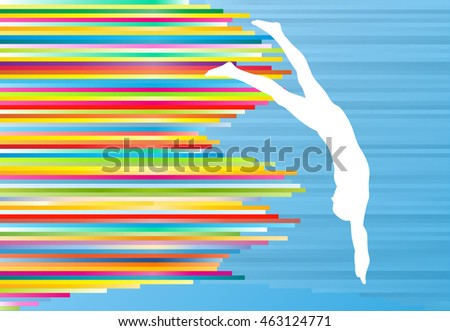 Young man athlete jump in swimming pool abstract vector illustration with colorful stripes on blue background