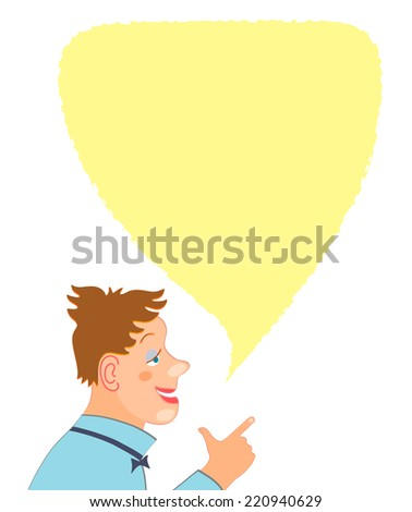 Young man cartoon character portrait with speech bubble - stock vector