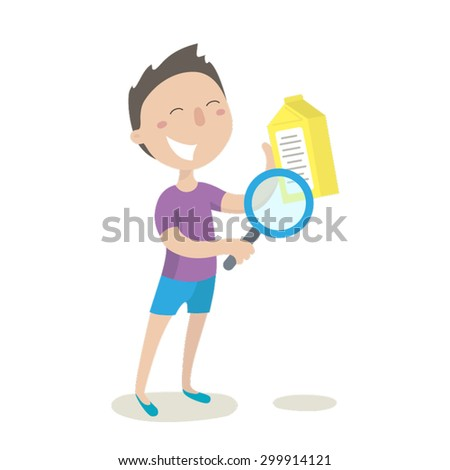 Young man checking food labeling in supermarket. Flat illustration. Vector stock. - stock vector