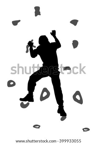 Young man climbing on a limestone wall, rock wall, vector silhouette illustration, isolated on the white background. - stock vector