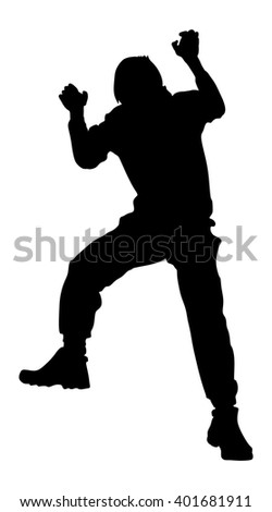 Young man climbing on a rock wall, vector silhouette illustration, isolated on the white background.