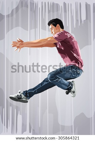 Young man dancer jumping. On wall background. - stock vector