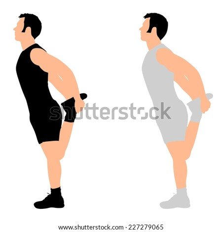 Young man exercising, vector  - stock vector