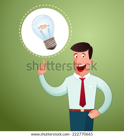 young man get an idea and smiling cheerfully - stock vector