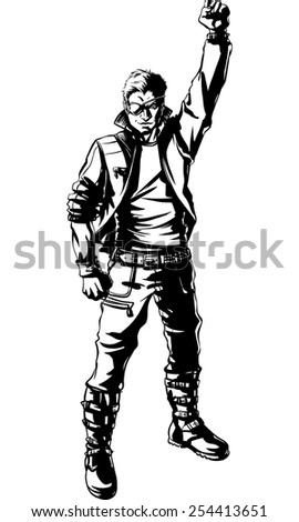 Young man heavy metal pose.Vector illustration. - stock vector