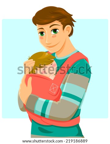young man holding a baby in a baby carrier - stock vector