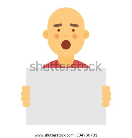 Young man holding blank sign - stock vector