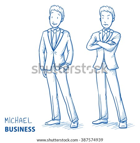 Young man in business suit standing in two emotions, happy and angry. Hand drawn line art cartoon vector illustration. - stock vector