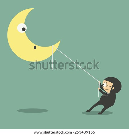 Young man in casual catching moon with rope - stock vector