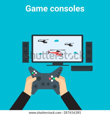 Young man is playing videogame on tv gamepad - stock vector