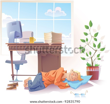 Young man is sleeping sweet at the office. - stock vector