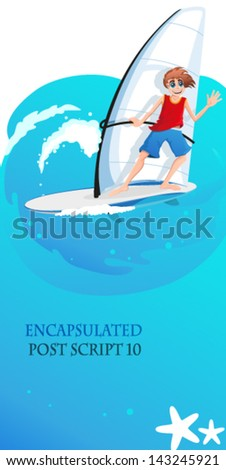 Young man on a sailboard sails on the waves