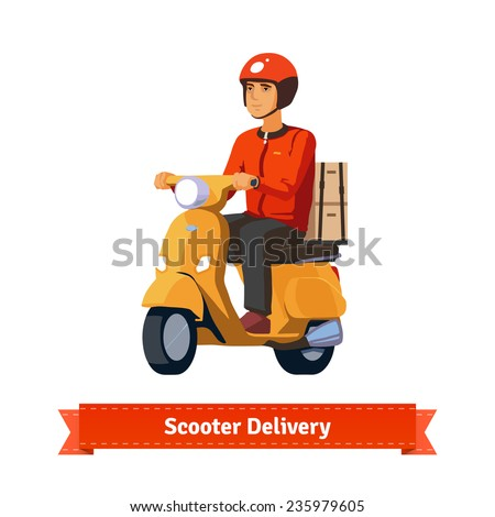 Young man on a scooter delivering packages. Flat style illustration. EPS 10 vector. - stock vector